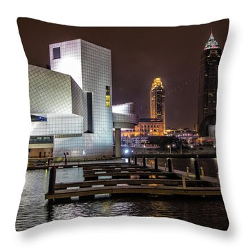 Rock Hall Of Fame And Cleveland Skyline Throw Pillow by Peter Ciro