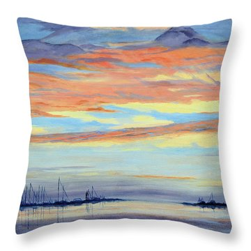 Rock Hall Sunset Throw Pillow by Cindy Roesinger