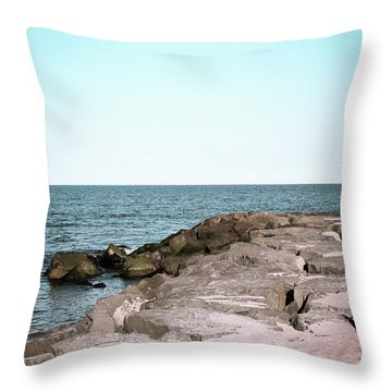 Throw Pillow featuring the photograph Rock Jetty by Colleen Kammerer