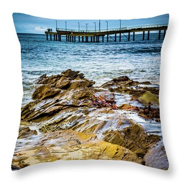 Throw Pillow featuring the photograph Rock Pier by Perry Webster