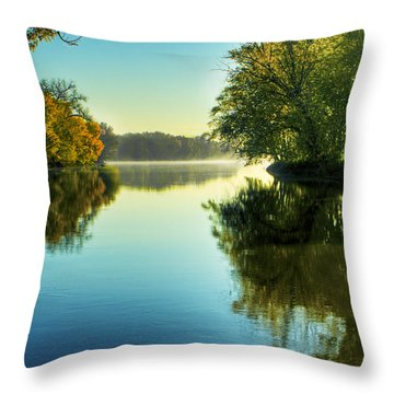 Rock River Autumn Morning Throw Pillow