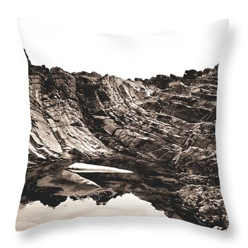 Throw Pillow featuring the photograph Rock - Sepia Detail by Rebecca Harman