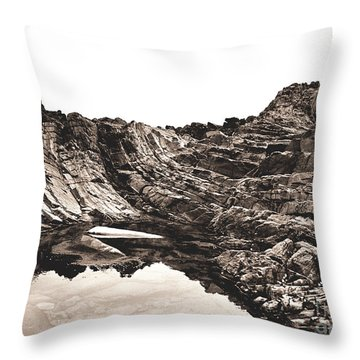 Throw Pillow featuring the photograph Rock - Sepia by Rebecca Harman