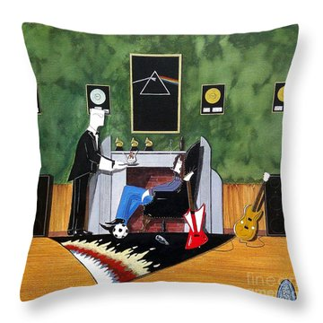 Rock Star Sitting In Chair Served A Sundae By Butler Throw Pillow by John Lyes
