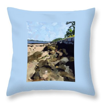 Rock Wall Looking South On Ten Pound Island, Gloucester, Ma Throw Pillow