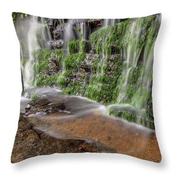 Rock Wall Waterfall Throw Pillow
