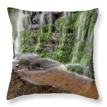 Rock Wall Waterfall Throw Pillow