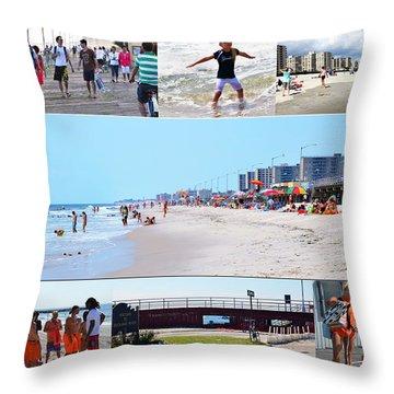 Throw Pillow featuring the photograph Rockaway Beach And Boardwalk 003 by Maureen E Ritter