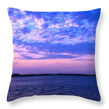 Throw Pillow featuring the photograph Rockaway Point Dock Sunset Violet Orange by Maureen E Ritter