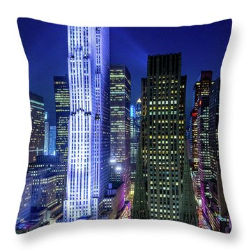 Rockefeller At Night Throw Pillow