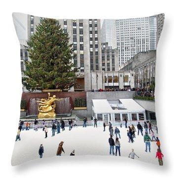 Rockefeller Center Skating Rink  Throw Pillow