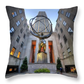Rockefeller Centre Atlas - Nyc - Vertorama Throw Pillow