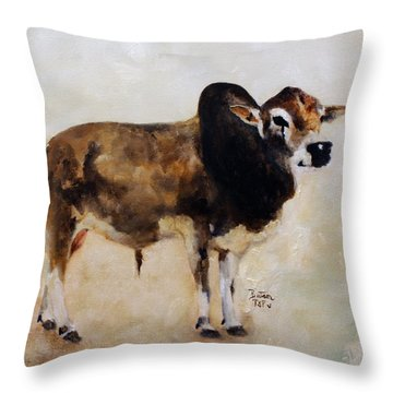 Rocket The Master Champion Herd Sire Miniature Zebu Throw Pillow