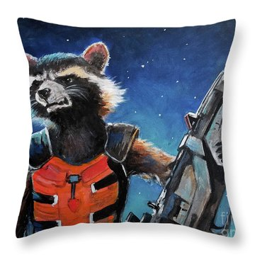 Rocket Throw Pillow by Tom Carlton