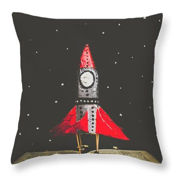 Rockets And Cartoon Puzzle Star Dust Throw Pillow