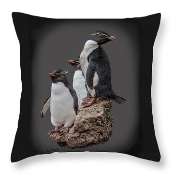 Rockhopper Penguins Throw Pillow