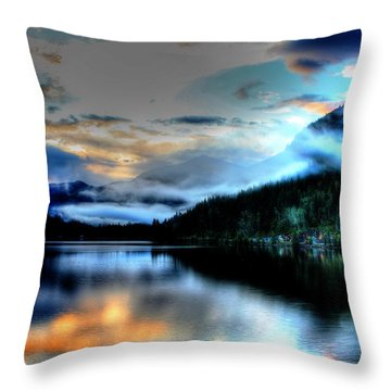 Rockie Mountain Mist Throw Pillow