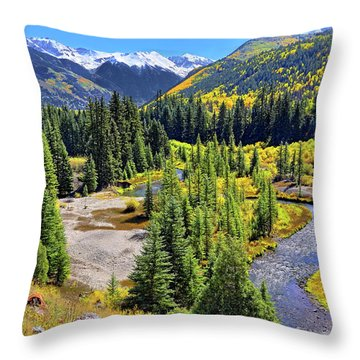 Rockies And Aspens - Colorful Colorado - Telluride Throw Pillow