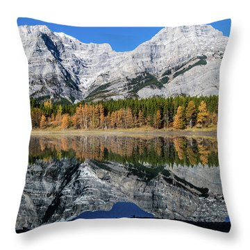 Rockies From Wedge Pond Under Late Fall Colours, Spray Valley Pr Throw Pillow