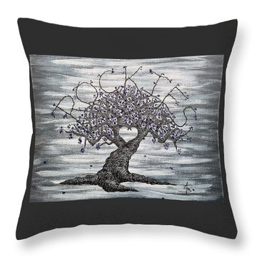 Throw Pillow featuring the drawing Rockies Love Tree by Aaron Bombalicki