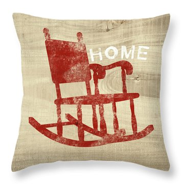 Rocking Chair Home- Art By Linda Woods Throw Pillow