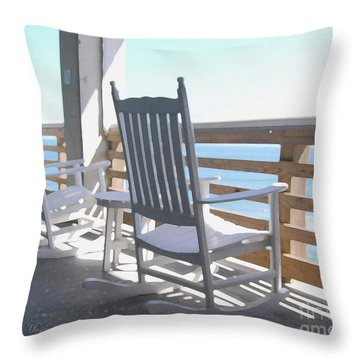 Rocking Waves 01 Throw Pillow by Linda Mesibov