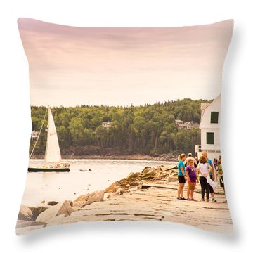 Throw Pillow featuring the photograph Rockland Breakwater by Paul Miller