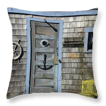 Rockport Fishing Shack Throw Pillow by Lou Ford