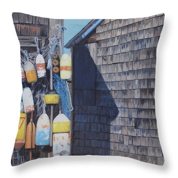 Rockport Fishing Shack With Lobster-buoys And Nets Throw Pillow by Barbara Barber
