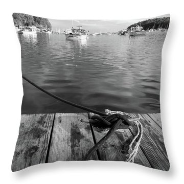 Rockport Harbor, Maine #80458-bw Throw Pillow