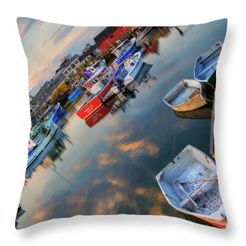 Throw Pillow featuring the photograph Rockport Harbor Motif #1  by Joann Vitali