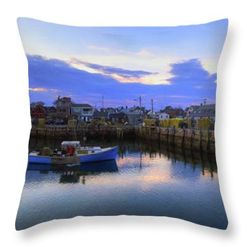 Throw Pillow featuring the photograph Rockport Harbor Sunset Panoramic With Motif No1 by Joann Vitali