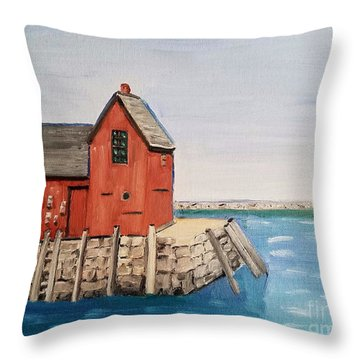 Rockport Motif In Winter Throw Pillow