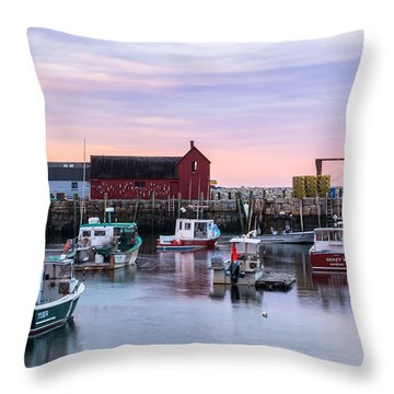 Rockport Waterfront With Motif No 1 Throw Pillow by Nancy De Flon