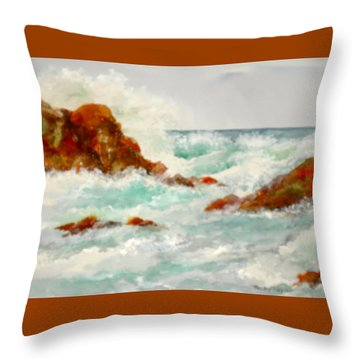 Rocks And Ocean Throw Pillow