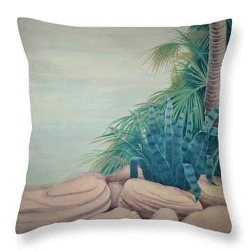 Rocks And Palm Tree Throw Pillow