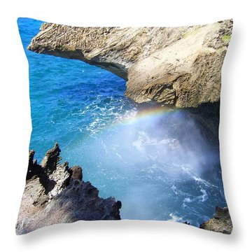 Rocks And Rainbow Throw Pillow