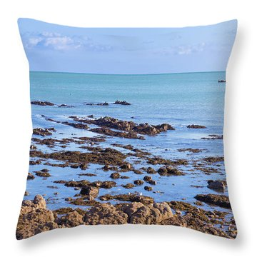 Throw Pillow featuring the photograph Rocks And Seaweed And Seagulls In The Irish Sea At Howth by Semmick Photo