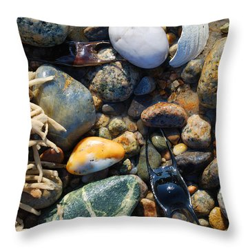 Rocks And Shells Throw Pillow by Charles Harden