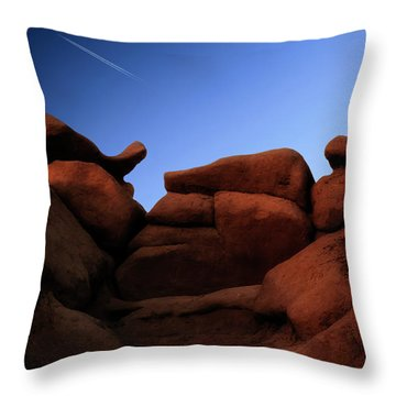 Rocks And Sky At Goblin Valley  Utah Throw Pillow by Gary Warnimont