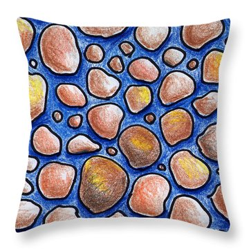 Rocks And Water Abstract Throw Pillow by Nancy Mueller