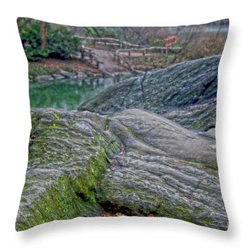 Rocks At Central Park Throw Pillow by Sandy Moulder