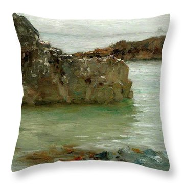 Throw Pillow featuring the painting Rocks At Newport by Henry Scott Tuke