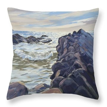 Throw Pillow featuring the painting Rocks At Widemouth Bay, Cornwall by Lawrence Dyer