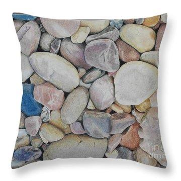 Beach Rocks, Mexico Throw Pillow