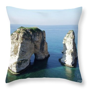 Rocks In Sea Throw Pillow