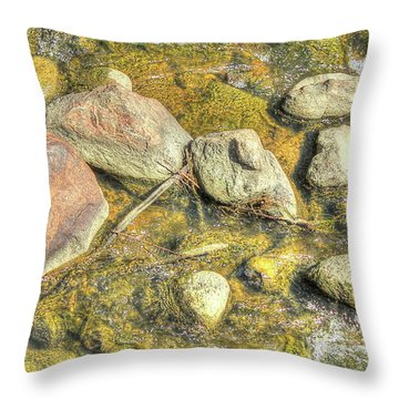 Rocks In Water Throw Pillow by Jim Sauchyn