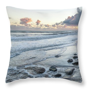 Rocks On The Beach During Sunset Throw Pillow