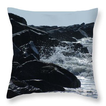 Rocks On The Jetti At Cocoa Beach Throw Pillow