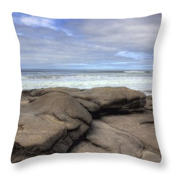Rocks On The Oregon Coast Throw Pillow